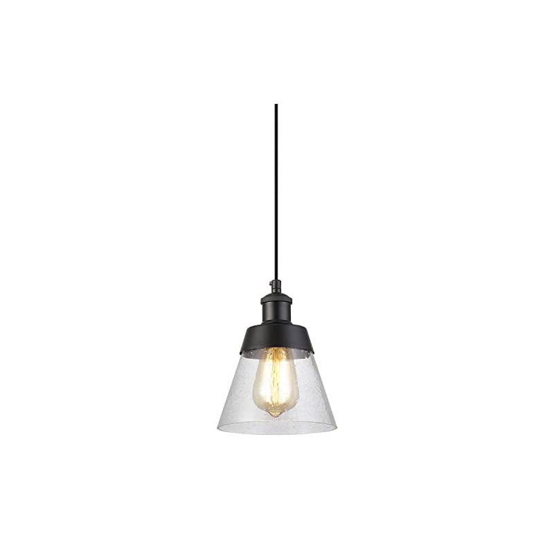 Industrial Glass Pendant Light with Handblown Clear Seeded Glass Shade, One-Light Adjustable Rustic Mini Pendant…