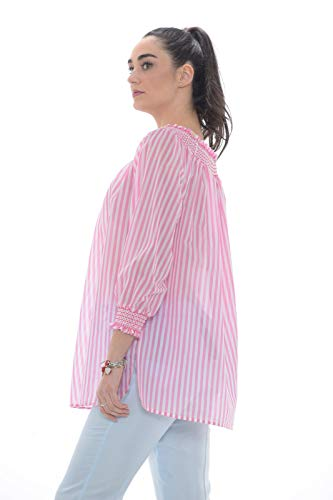 Studio Marta Bianco E rosa Made Blusa In Donna Seta Italy Cotone rrWqd4n
