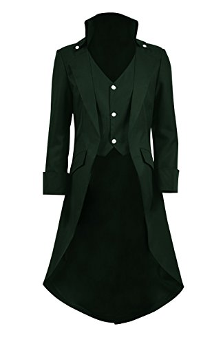 Very Last Shop Mens Gothic Tailcoat Jacket Black Steampunk Victorian Long Coat Halloween Costume (US Men-L, Dark Green)]()