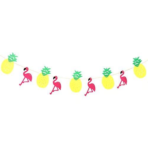BESTOYARD Pineapple Banner Garland Banner Pennant for Hawaiian Luau Birthday Baby Shower Party Festival Decoration (Hawaiian Happy Birthday)