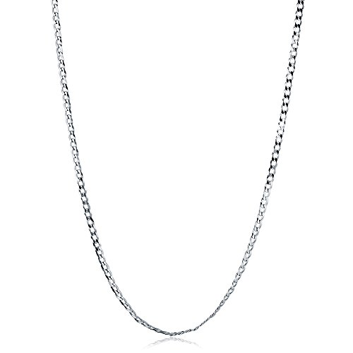 BERRICLE Italian Rhodium Plated Sterling Silver Flat Curb Chain Necklace 3mm 20