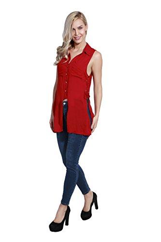 adam & eve® - Tejido Rayón Snap Button Ojo-dejar lado Slit camisa sin mangas para las mujeres Rojo