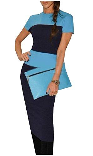 Blue Short Coolred Women Sleeve Light Office Dress Hit Color Summer Cotton Work qwFPwApx