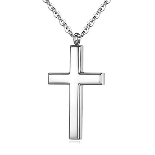 REVEMCN Simple Men's Stainless Steel Cross Pendant Chain Necklace for Men Women, 20-24 Inches Chain (24, Silver Tone - Link Chain)