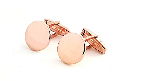 18 Karat Gold Overlay 925 Solid Sterling Silver Cufflinks (MADE IN ITALY) in 3 Colors cf4 (ROSE (Rose White Cufflinks)