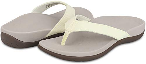 Sessom&Co Orthotic Flip Flops with Comfy Arch Support Women Sandals for Plantar Fasciitis & Flat Feet - Casual Indoor/Outdoor Slippers (Cream Beige 8 US/39 EU)