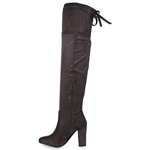 Stiefelparadies Damen Stiefel Langschaftstiefel Overknees Glitzer Schuhe Flandell Grau Schleifen Arriate