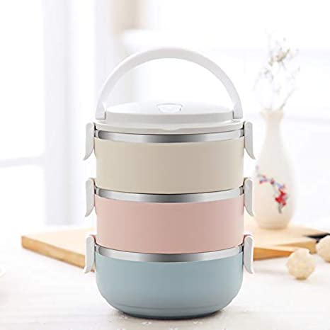 f53d60ee3498 3 Tier Bento Box, 2100ML Stainless Steel Round Lunch Containers Kids Adults  Women, Stackable Leak Proof Food Soup Thermos Lunch Box With Handle, ...