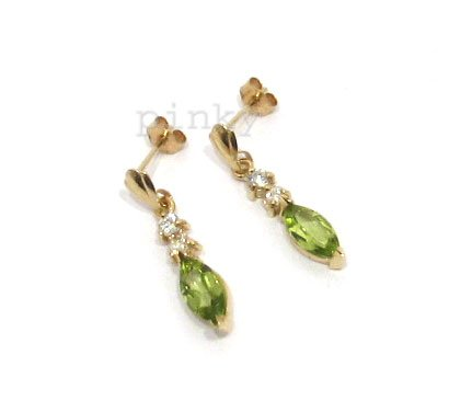 New 9CT Gold Peridot Marquise Cut & Cubic Zirconia Drop Earrings BNIB (GD1390) GOLD EARRING / Gold Jewellry (MADE IN UK WITH HIGH QUALITY)