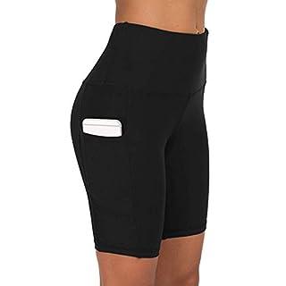JGS1996 High Waist Out Pocket Yoga Pants Tummy Control Workout Running 4 Way Stretch Yoga Leggings Shorts