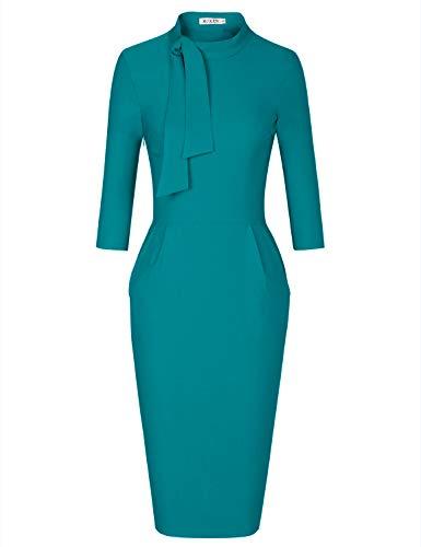 MUXXN Women's Juniors Cocktail Blue Dresses Graduation Mid Length Party Dress (Harbor Blue L)