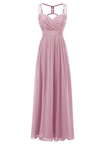 ALAGIRLS Long Bridesmaid Dresses Straps Chiffon Sweetheart Wedding Party Gowns Blush US14