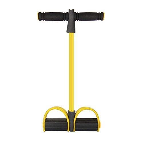 DASARA 1xYellow Abdominal Thigh Trainer Fitness Tubes Handle Resistance Band Rowing Exerciser