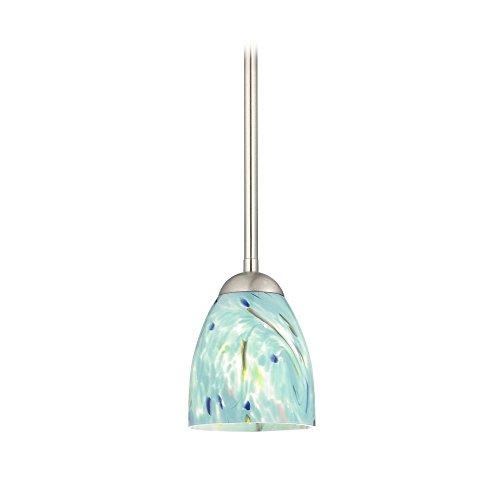Art Glass Ceiling Light (Modern Mini-Pendant Light with Turquoise Art Glass)