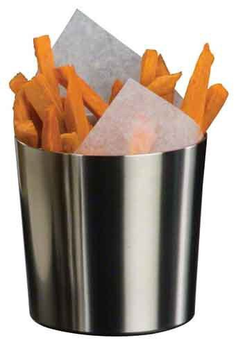 Stainless Steel Fry Cup with Satin Finish, 3-3/8-IncH x 3-3/8-Inch Table Service