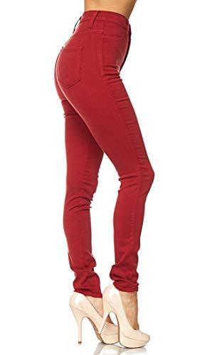 Vibrant Women's Classic High Waist Denim Skinny Jeans (1, Red)
