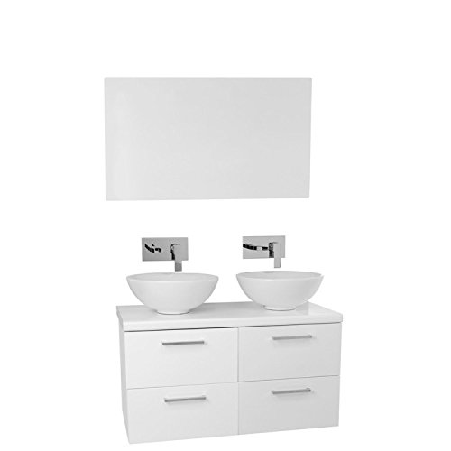 """low-cost Iotti Iotti AN364 Aurora Double Vessel Sink Bathroom Vanity Wall Mounted with Mirror Included, 37"""", Glossy White"""