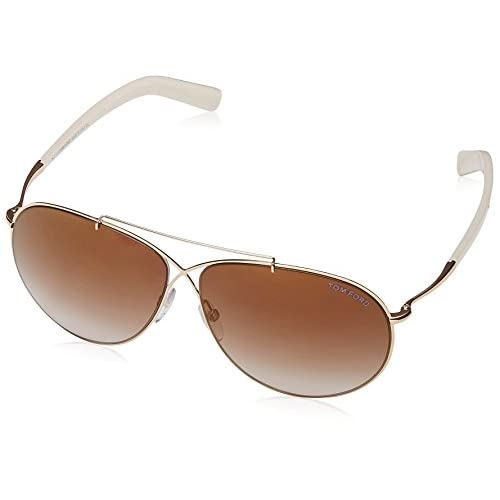 fff05b5a15ecf best Tom Ford Women s Eva Aviator Sunglasses Shiny Rose Gold Brown Mirror  FT0374 28G 61