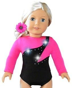 American 18 inch Doll Clothes for Girls | Hot Pink Gymnastics Set with Leotard and Hair Accessories | by DOLL CONNECTIONS | Doll Clothes Done Right! (2 Piece (Dressing Up Like A Celebrity For Halloween)