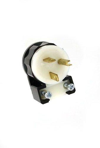 Leviton 5466-CA 20 Amp, 250 Volt, Straight Blade, Angle Plug, Industrial Grade, Grounding, Black-White