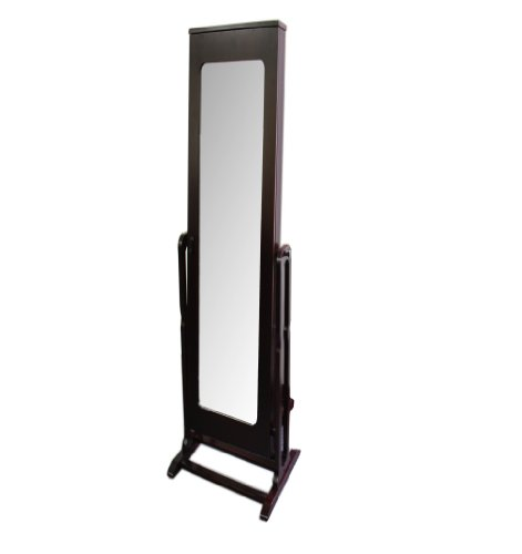 ORE International TH-8003CH Standing Mirror with Storage and Jewelry Armoire Stand, 61-Inch, Dark Cherry Finish - Dark Cherry Jewelry Armoire