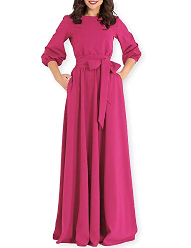 (AOOKSMERY Women Elegance Audrey Hepburn Style Round Neck 3/4 Puff Sleeve Puffy Swing Maxi Dress with Belt)