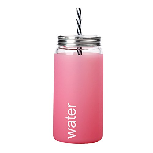 (Glass Sipper Tumbler with Straw Lid Silicone Sleeve/Insulated Mason Jar Cup with Straw- Idea for Coffee, Tea,Beverage & Cold Drinking(500ml)