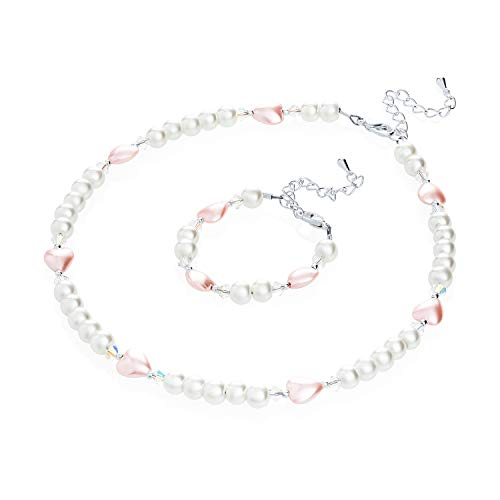 Crystal Dream Elegant White Simulated Pearl Pink Heart Beads Infant Girl Necklace and Bracelet Gift Set ()