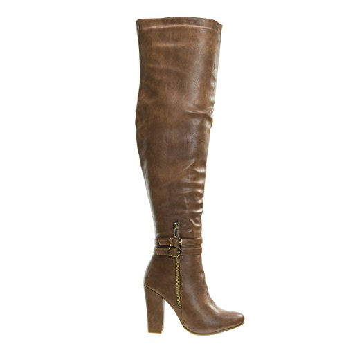 Born1 Tan Block Heel Over-The-Knee Dress Boots w Double Buckle -8.5 (Thigh Buckle Boot High)