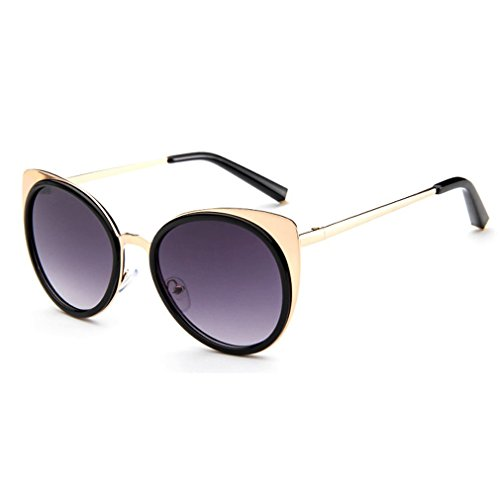 LOMOL 2016 New Womens Trendy Metal Frame Reflective Lens UV Protection Personality Cateye - Sunglasses Face Womens Fat