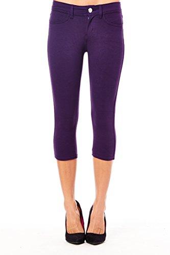 Womens-Fabulous-Dance-Pop-Beach-Fashion-Short-Petites-Bottoms-Capri-Pants-Jeans-large-purple