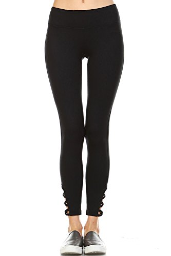 Mono B Women's Athletic Full Leggings with Criss Cross Cut Accent S Black