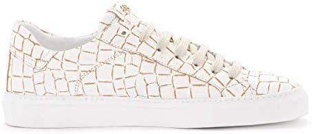 Hide&Jack Sneaker Croco in Pelle Bianca E Beige