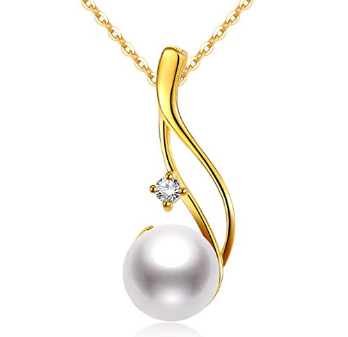 CHAULRI Premium 9-10mm Cultured Freshwater White Pearl Pendant Necklace 18K Gold Plated Sterling Silver Gifts for Women for Her Wife Mom Daughter (Yellow, Gold-Plated-Silver) (Akoya Pearl Jewelry Set)