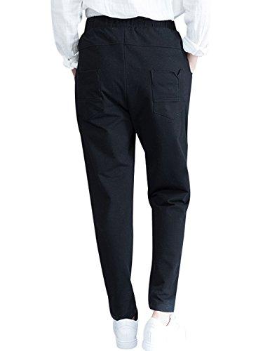 Youlee Mujeres Cintura Elástica Harén Pantalones Con Bolsillos Estilo 2 Negro