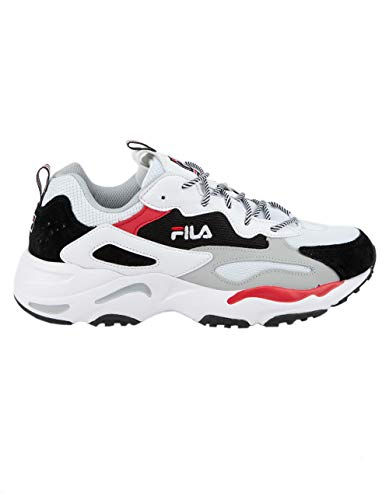 Fila Mens RAY Tracer Sneaker,White/Black/RED,11