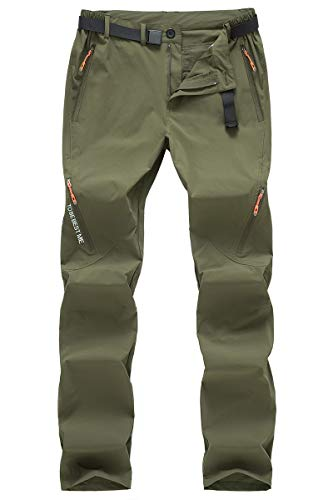Postropaky Mens Hiking Quick Dry Lightweight Stretch Pants Outdoor Fishing Travel Climbing Trousers (Green 36x32)