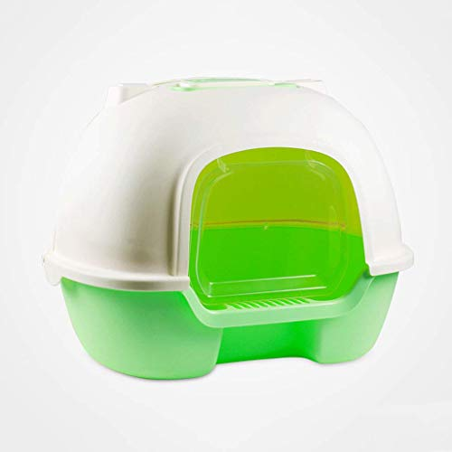 Cat Litter Box Rear Clamshell Pan Fully Enclosed Deodorant Anti-Splashing Cat Toilet with Scoop and Handle (Color : ()