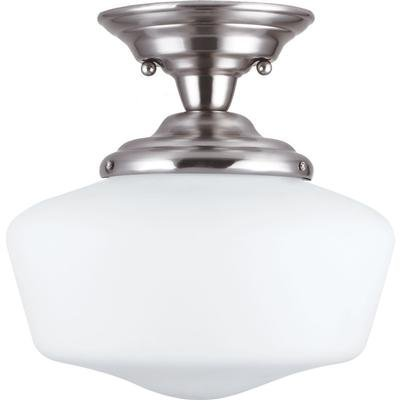 Sea Gull Lighting 77436BLE-962 Semi-Flush Mount with White Schoolhouse Glass Shades, Brushed Nickel Finish by Sea Gull Lighting