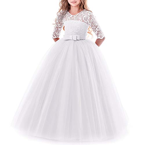 Kids Girl's Embroidery Flower Tulle Lace Wedding Bridesmaid