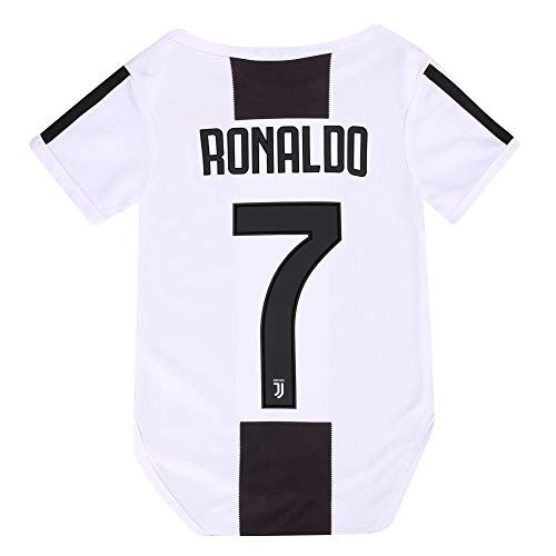NUMBERSUIT JUVE #7 Ronaldo Baby Suit F.C. Home Cotton Soccer Bodysuits Infant OneSize Black/White