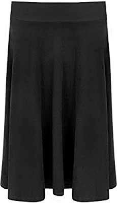 WearAll Women's Long Suede Look Knee Length Stretch Flared Skirt