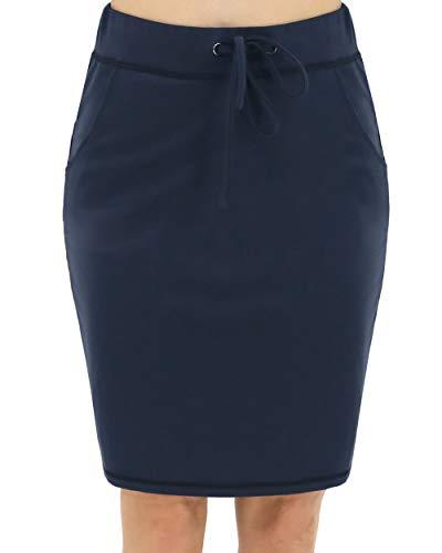 BENANCY Women's High Waist Stretch Pencil Skirt with Pockets Denim L