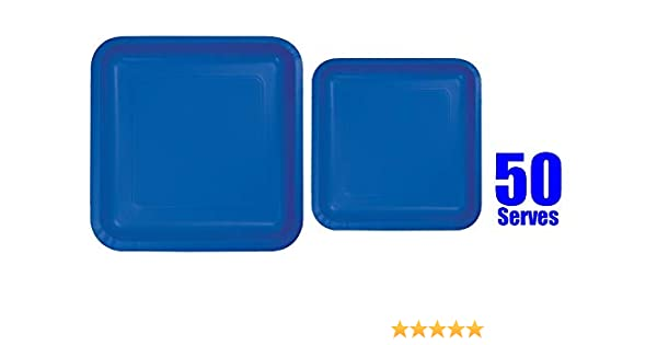 7-640013.105 Amscan Bright Royal Blue Paper Plate Big Party Pack 50 Ct.