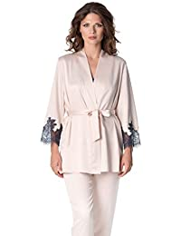 71c8453be6 De La Ville Women s Luxury Shiny Satin Short Robe with Long Sleeves and  Wide Lace Cuffs