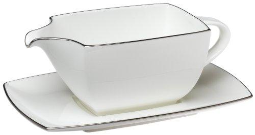 Mikasa Couture Platinum 2-Piece Gravy Boat (Platinum Bone China Sauce)