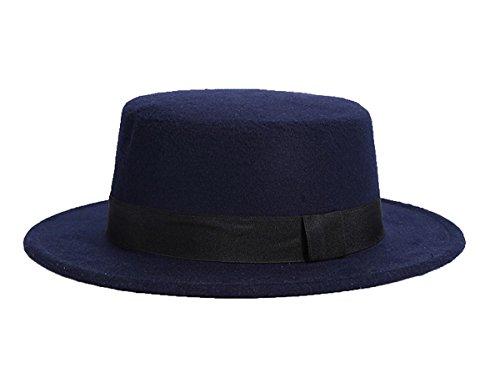 banda Hat Bowler lana Ahatech Gorra con Jazz Derby Unisex de azul Fedora oscuro Floppy IwqqHPXW