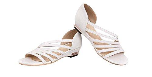 Xiuhong Shop Sandalias romanas zapatos casuales zapatos de moda plana blanco
