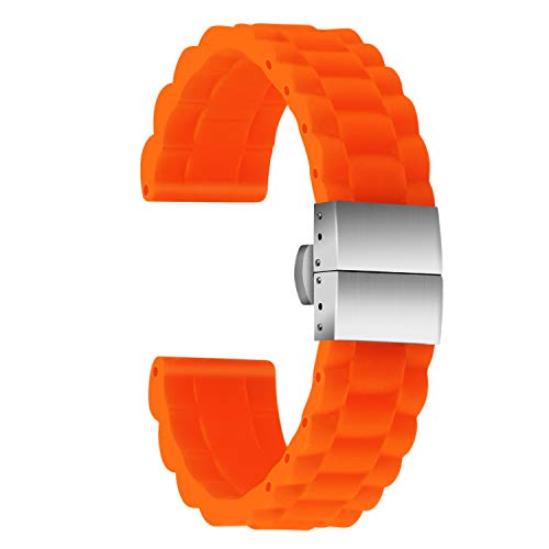 Ullchro Silicone Watch Strap Replacement Rubber Watch Band Waterproof Link Pattern - 16mm, 18mm, 20mm, 22mm, 24mm Watch Bracelet with Stainless Steel Deployment Buckle (20mm, Orange) ()