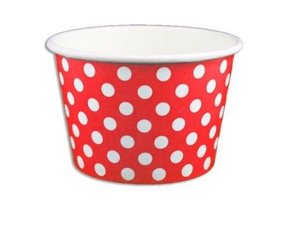 Red Polka Dot Ice Cream Cups 8 oz- 50 count by Beach Party